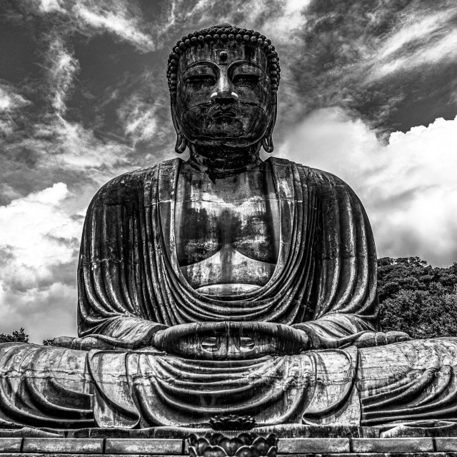 """Great Buddha of Kamakura in Black and White"" stock image"