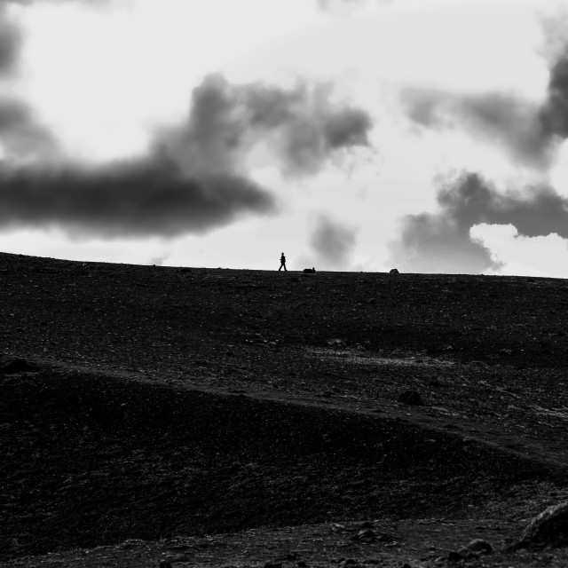 """Hiker in Iceland in black and white"" stock image"