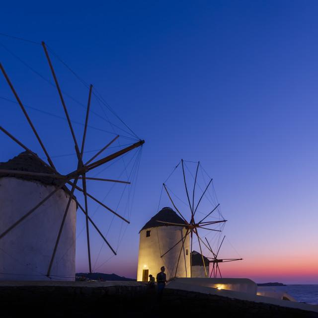 """Windmills at dusk"" stock image"