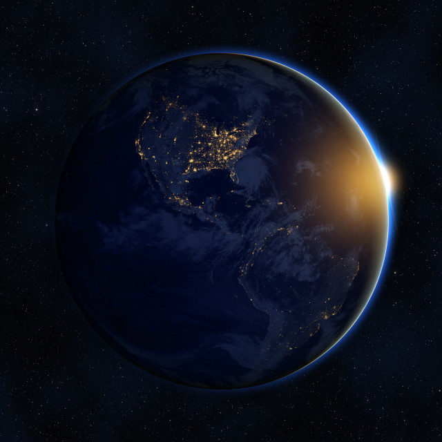 """""""Sunrise over planet Earth against dark starry sky background, elements of this image furnished by NASA"""" stock image"""
