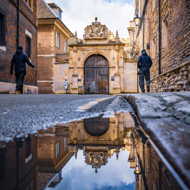 """Trinity College East Gate, University of Cambridge."" stock image"
