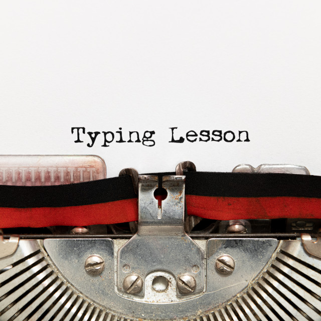 """Typing lesson title text written on paper with typewriter"" stock image"