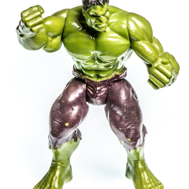 """""""Action figure of a muscular angry green man"""" stock image"""