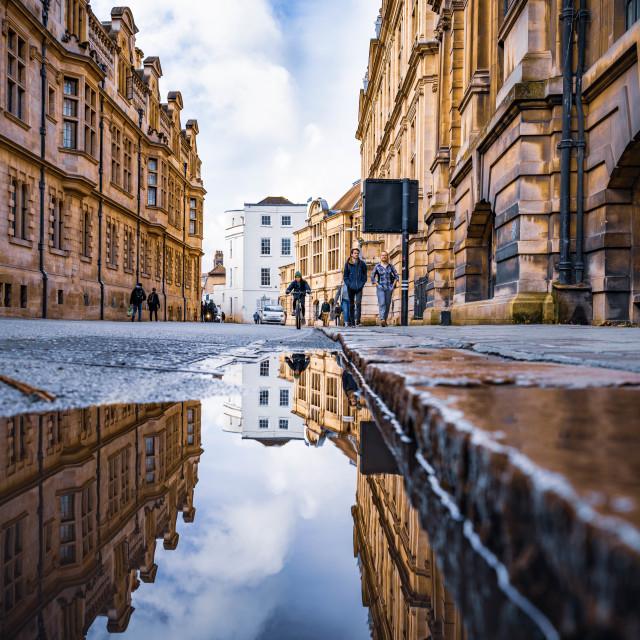 """""""Reflections, Downing Street Cambridge UK."""" stock image"""
