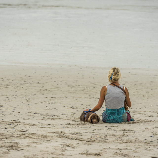 """""""Woman takes time-out on the beach while training her puppy."""" stock image"""