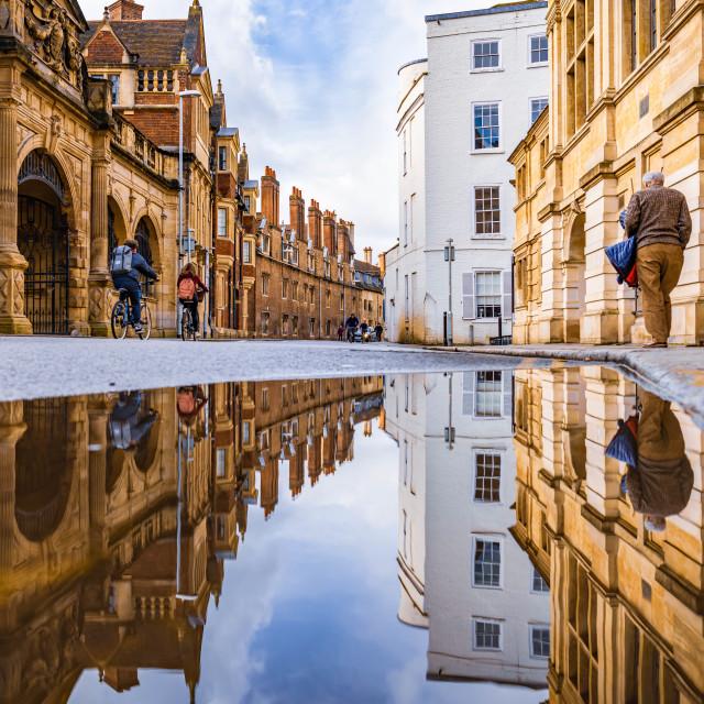 """Reflections, Pembroke St. Cambridge UK."" stock image"