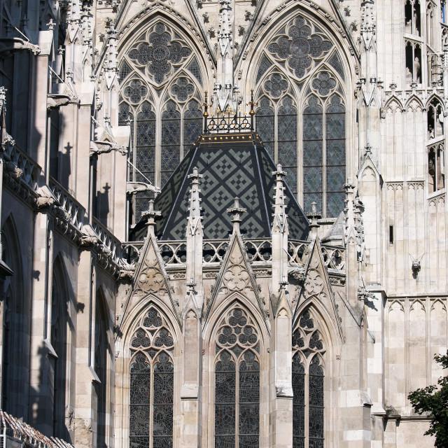 """Votive Church Votivekirche facade detail Vienna Austria"" stock image"