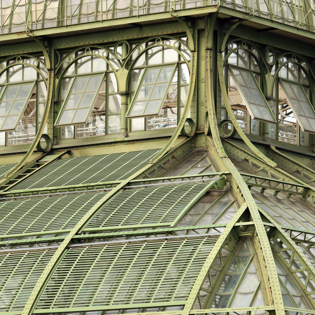 """greenhouse windows detail vintage Vienna Austria"" stock image"