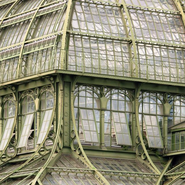 """greenhouse windows and walls detail vintage Vienna Austria"" stock image"