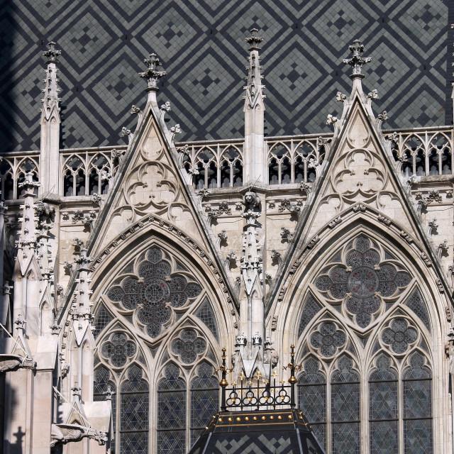 """Votive Church Votivekirche facade detail Vienna"" stock image"