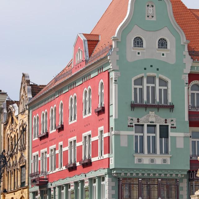 """colorful old buildings Union Sqaure Timisoara Romania"" stock image"