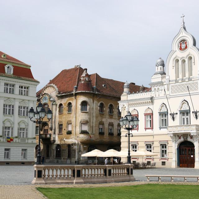 """beautiful old buildings Union Sqaure Timisoara Romania"" stock image"