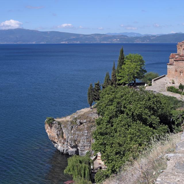 """Jovan Kaneo Church landscape Lake Ohrid North Macedonia"" stock image"