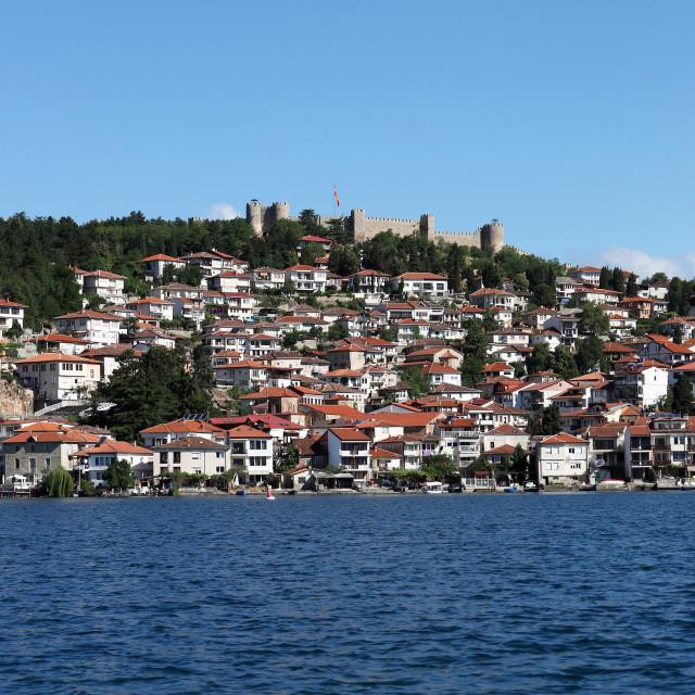 """Ohrid city and lake landscape North Macedonia"" stock image"