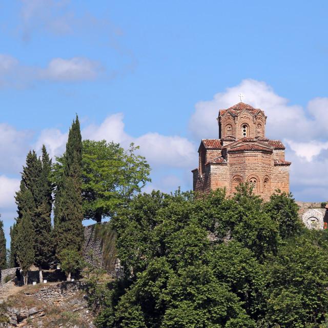 """Jovan Kaneo church Lake Ohrid landscape North Macedonia"" stock image"