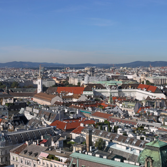 """""""old and modern buildings and churches towers Vienna cityscape"""" stock image"""