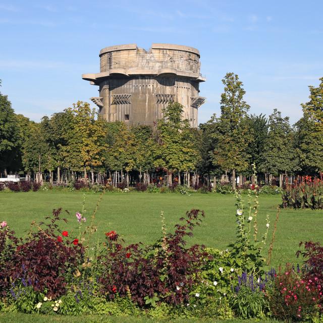 """Flakturm anti aircraft tower landmark in Augarten Vienna Austria"" stock image"