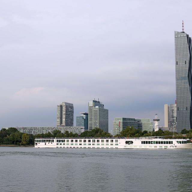 """""""River cruise ship Danube river Vienna Austria"""" stock image"""