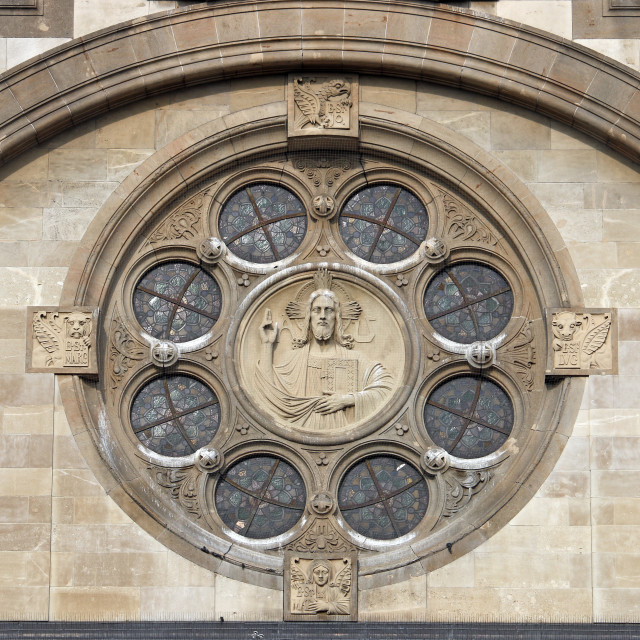 """Saint Francis of Assisi Church wall detail Vienna Austria"" stock image"