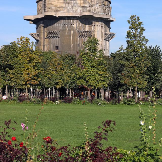 """Flakturm anti aircraft tower in Augarten Vienna Austria landscap"" stock image"