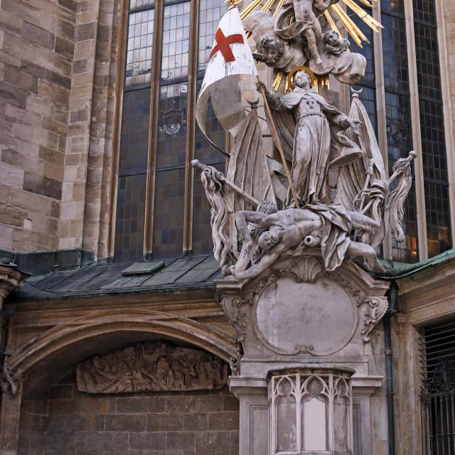 """Saint Stephens Cathedral statue Vienna Austria"" stock image"
