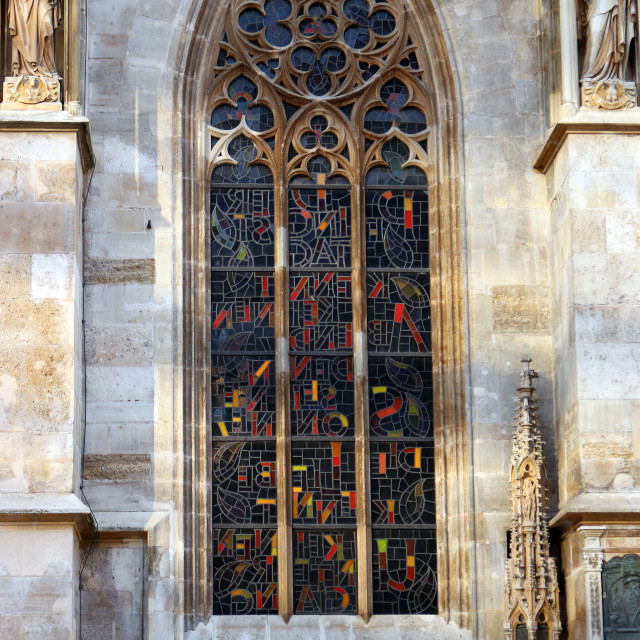 """""""Saint Stephens Cathedral window with stained glass Vienna Austri"""" stock image"""
