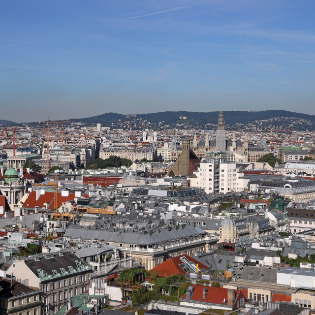 """""""Vienna cityscape old and modern buildings and churches towers Au"""" stock image"""