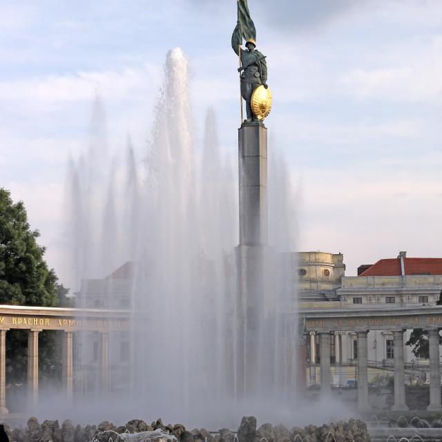 """A monument to the liberatorsof Austria Schwarzbergplatz Vienna"" stock image"