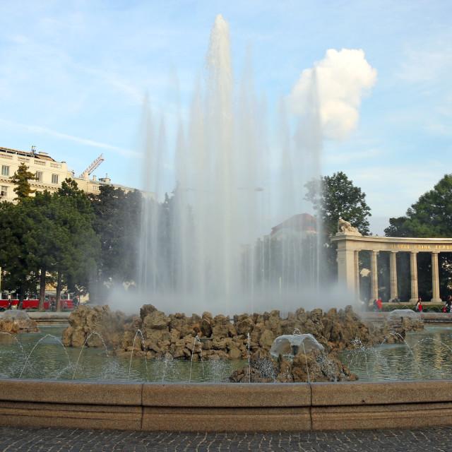 """Fountain Red Army monument Schwarzbergplatz Vienna Austria"" stock image"