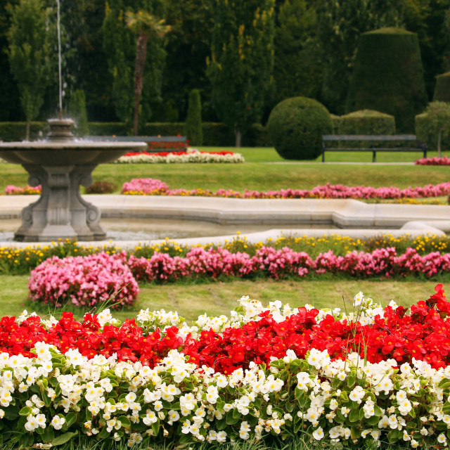 """""""Beautiful garden with fountain and flowers Vienna Austria"""" stock image"""