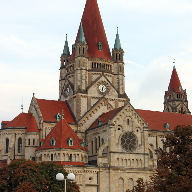 """""""Saint Francis of Assisi Church in Vienna Austria"""" stock image"""