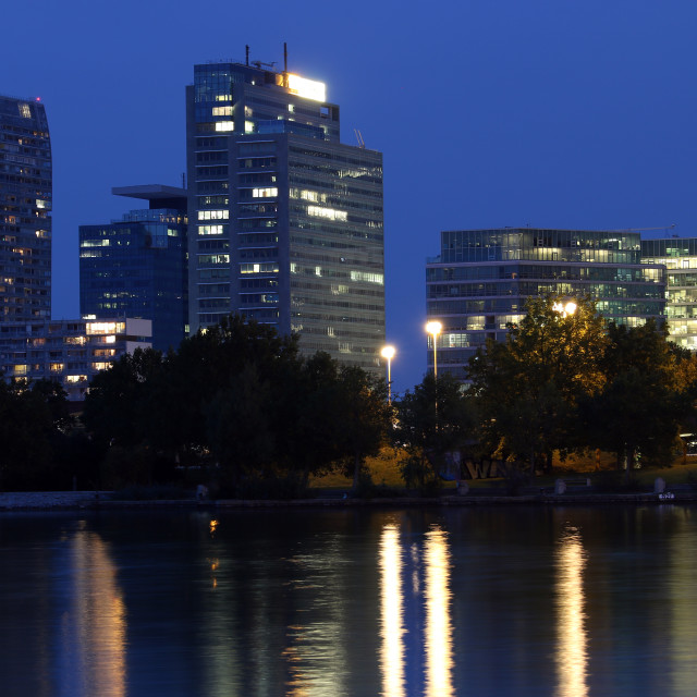 """""""Vienna skyline on the Danube river at night"""" stock image"""