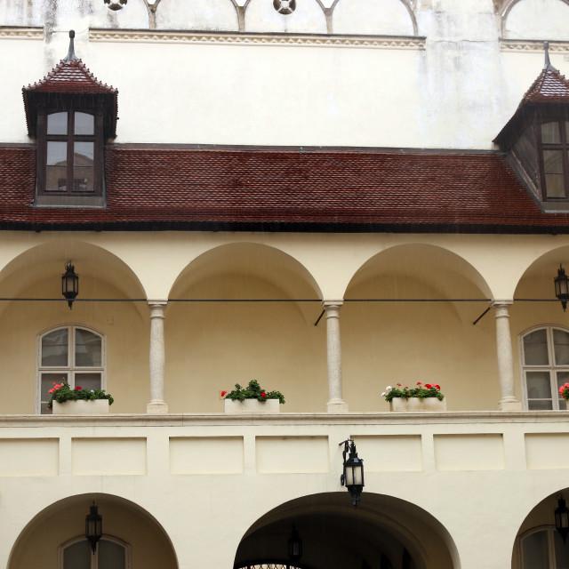 """Bratislava old town hall wall detail"" stock image"