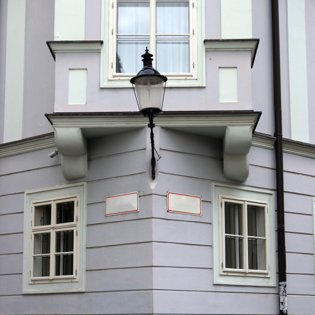 """lantern wall and window house detail old town Bratislava Slovaki"" stock image"