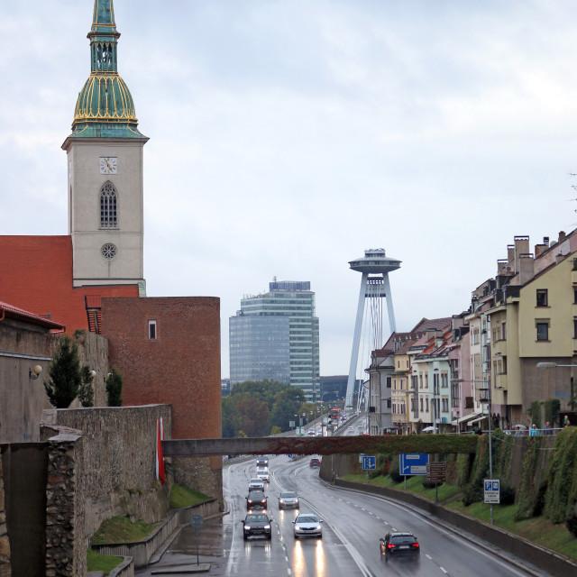 """Saint Martins Cathedral and New Bridge Bratislava Slovakia"" stock image"