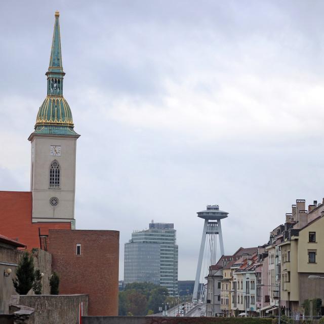 """Saint Martins Cathedral and New Bridge cityscape Bratislava Slov"" stock image"