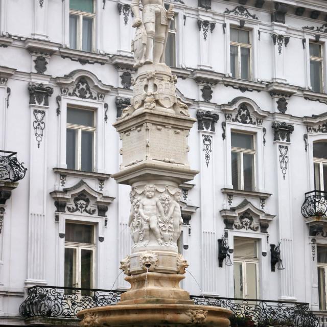 """Statue of knight Roland Bratislava Slovakia"" stock image"