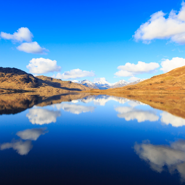"""Lock Arklet Reflection Scotland"" stock image"