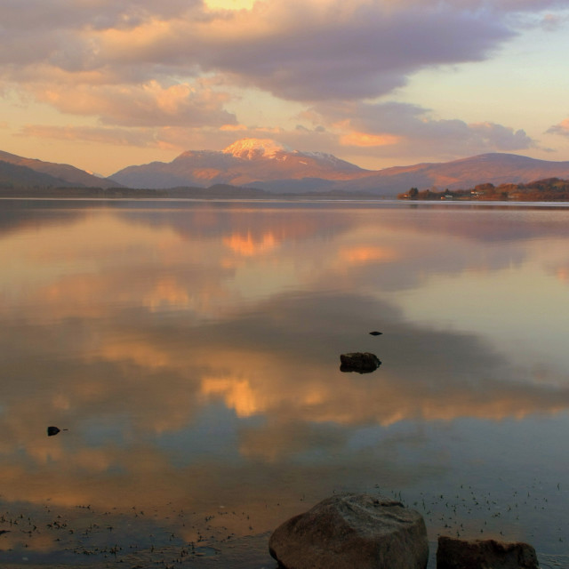 """Loch Lomond Sunset reflection"" stock image"