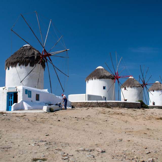 """Windmills of Mykonos"" stock image"