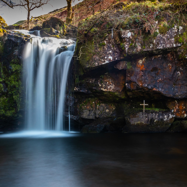 """Waterfall in the hillside, Campsie Hills Scotland"" stock image"