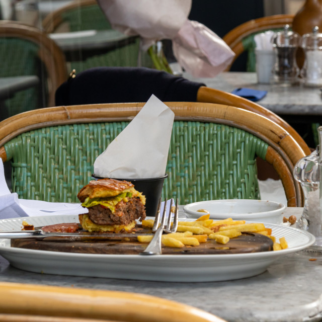 """Burger half eaten food"" stock image"