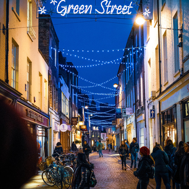 """Green Street, Cambridge UK."" stock image"