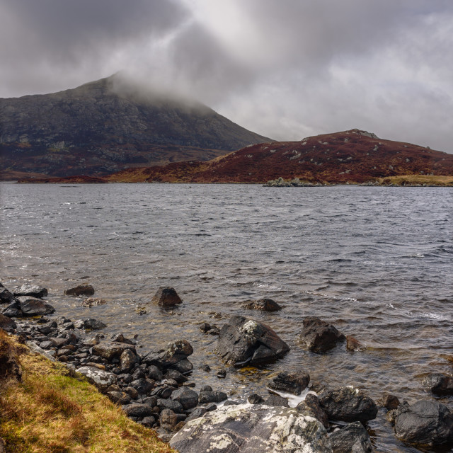 """""""Eaval from Loch Obasaraigh"""" stock image"""