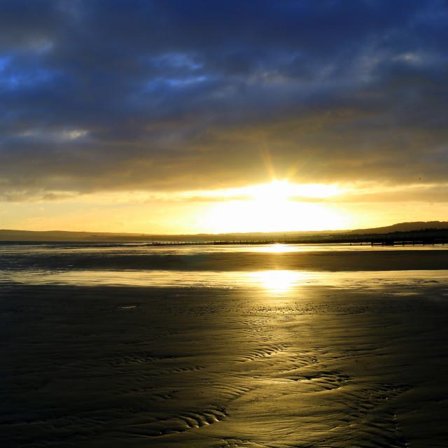 """Sunrise over Saltburn"" stock image"