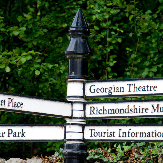 """""""Tourist Sign at Richmond, North Yorkshire"""" stock image"""