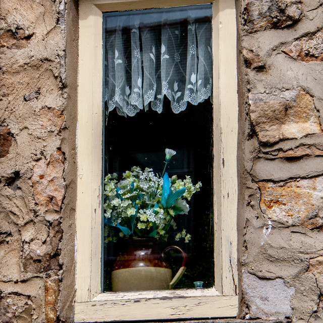 """Cottage Window, Marske, North Yorkshire"" stock image"