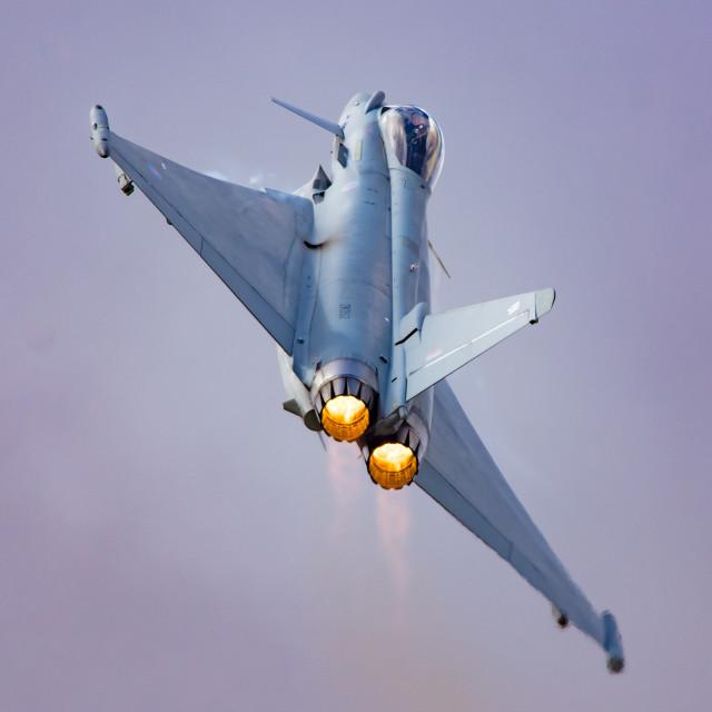 """RAF Eurofighter typhoon afterburners"" stock image"
