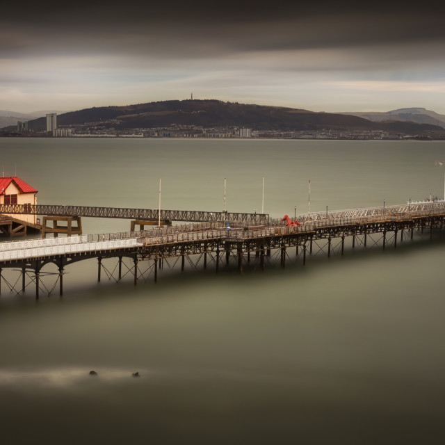 """""""Mumbles Pier and Kilvey Hill"""" stock image"""