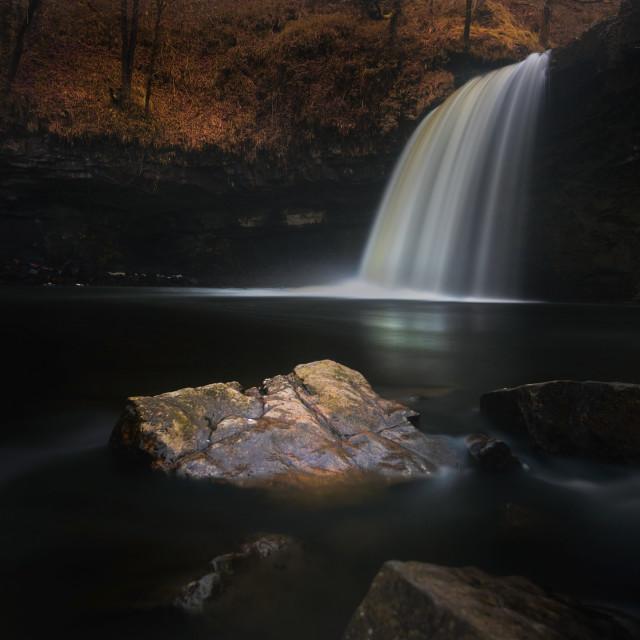 """Moody Sgwd Gwladus waterfall"" stock image"